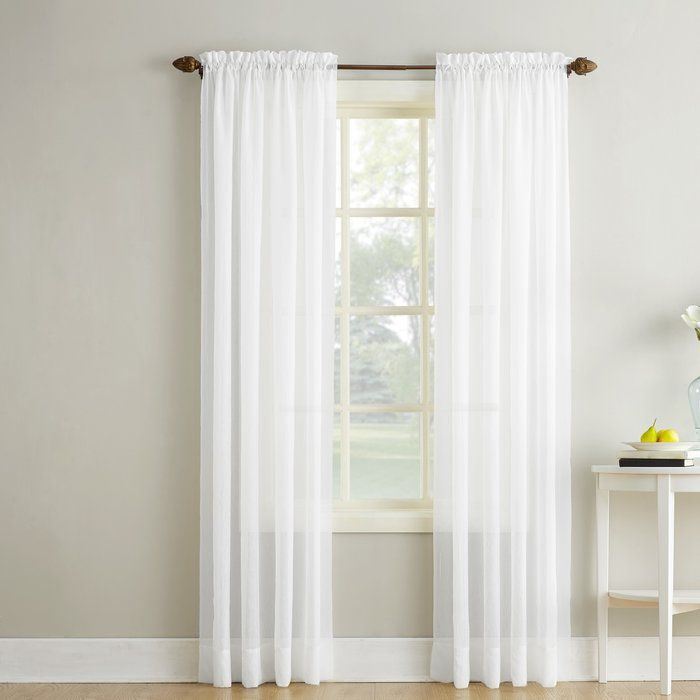 Emily Solid Color Sheer Rod Pocket Window Single Curtain Panel With Images Curtains Panel Curtains Drapes Curtains