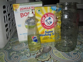 EASY 3 ingredient No Grate, No Cook Homemade DIY Laundry Soap. Borax. Super washing soda. Blue dawn dish soap. Be sure and use blue dawn dish soap it works better than any other.