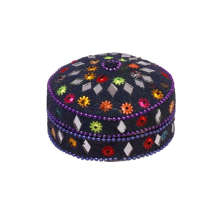 Bulk Wholesale Handmade Set of 3 Blue Jewelry Boxes / Keepsakes in Aluminum Decorated with the Traditional Laakh Work – Old-World Style Trinket Boxes from India