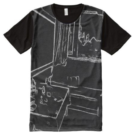 black and white drawing resting room All-Over-Print T-Shirt - tap, personalize, buy right now!