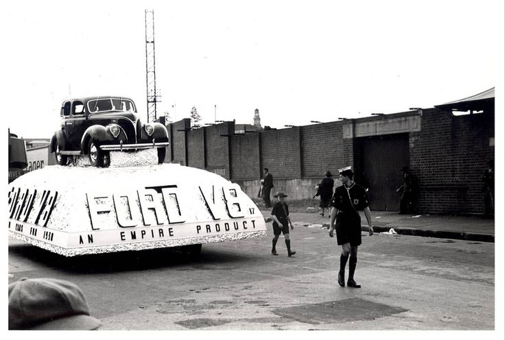 "Image 21806152 - A Ford V8 float, which formed part of the ""Australia's March to Nationhood"" parade on January 26th, 1938. This image was taken in Driver Avenue, Moore Park. [RAHS Australia Day 1938 - Sesquicentenary Celebrations Collection]"