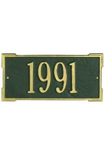 Roanoke One-Line Petite Wall Address Plaque - petite/one line, Green by Home Decorators Collection. $55.00. Roanoke One-Line Petite Wall Address Plaque - This Premium, Textured And Dimensional Wall Address Plaque Is Designed With Large Numbers For Maximum Visibility Outdoors. The Petite Roanoke Rectangular Design Features An Additional Border On Each Corner That Adds A Distinguished Look.Our Outdoor House Marker Is Built To Withstand The Elements. It Is Individu...