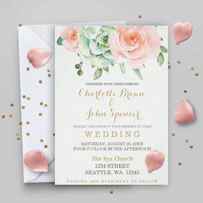 Succulent Peach Roses PRINTABLE Wedding Invitation Template, boho wedding…
