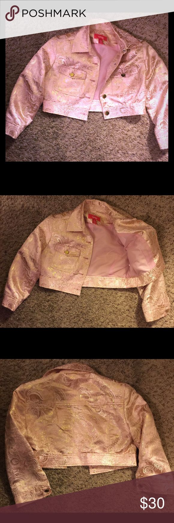 Cropped lovely pink jacket Lovely pink and gold accented cropped jacket. Lined in pale pink. Jackets & Coats Puffers