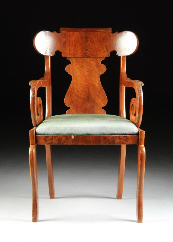 C.1840s. AN AMERICAN CLASSICAL PERIOD FLAME MAHOGANY ARMCHAIR, : Lot 162