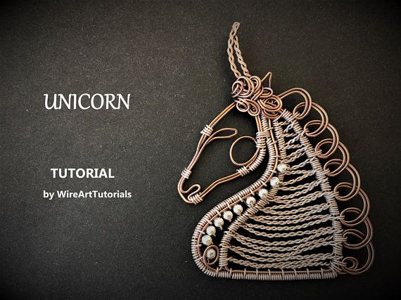 TUTORIAL PDF Unicorn horse pendant pattern book,wire wrap weave jewelry,copper,project,wrapping weaving,wrapped weaved,animal design