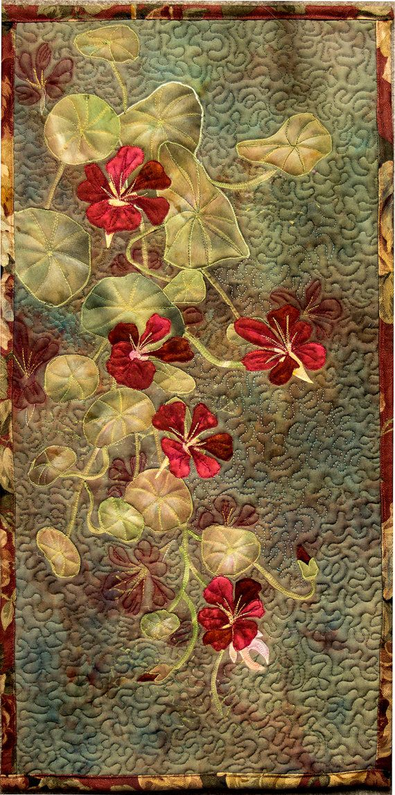 Hand bemalte Gewebe Kunst Quilt Wandbehang  Kapuzinerkresse
