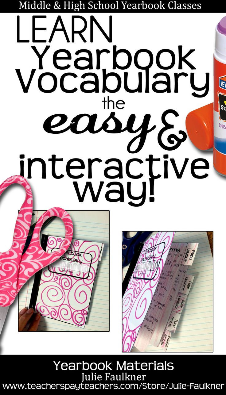 Yearbook Vocabulary Lesson and Interactive Notebook | Middle and High School