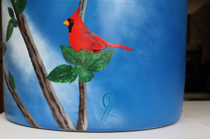 """-FOR SALE- Rain barrel #002 """"The Cardinal's Tree"""" Photo #4 of 4 Complete with 5' of overflow tubbing, colored cleanable aquarium gravel filter system & all hardware parts are replaceable. One of a kind, hand painted with Krylon Fusion paint for plastic."""