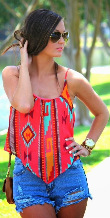 Sideline Sass Red Crop Pointed Hem Aztec Cami by For All Things Lovely