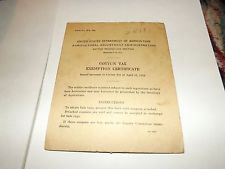 -1934-us-agricultural-cotton-tax-exemption-certificate-book-easley-sc-paper