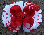 Valentine Hair Bow - Boutique Stacked Hair Bow Hair Clip