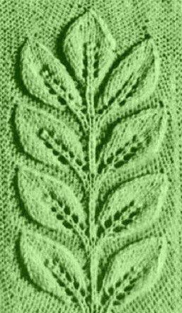 """Узор спицами """"Веточка из листьев"""""""