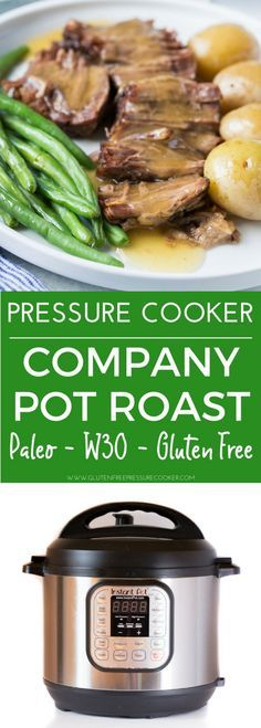 Now you can cook a classic pressure cooker pot roast in your electric pressure cooker or instant pot in less than an hour! This easy recipe makes a really easy, healthy weeknight meal! It's gluten free, paleo and whole 30, low carb, and healthy! #instantpot #instapot #paleo #paleoinstantpot #Whole30 #pressurecooker #glutenfreepressurecooker