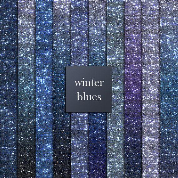 10 Blue glitter digital papers winter blues blue