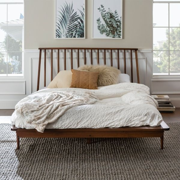 Walnut Mid Century Modern Queen Bed Frame In 2020 Modern Queen