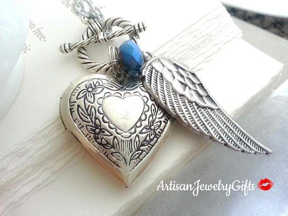 Silver heart locket angel wing birthstone charm necklace