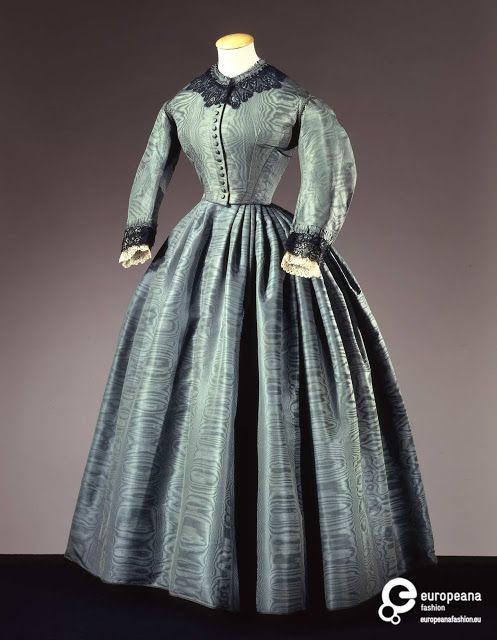 Moiré silk dress, ca. 1860. | In the Swan's Shadow