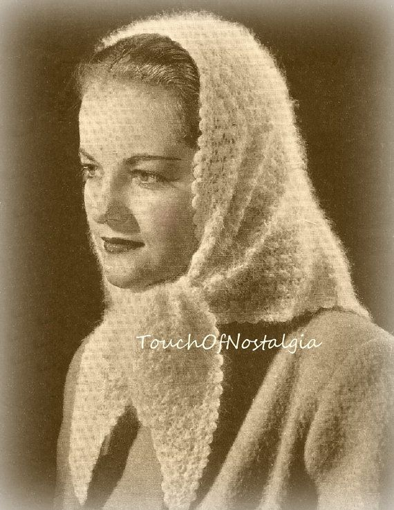 Knitted Head Scarf Pattern : 17 Best images about Vintage Knitting 3 on Pinterest Knitting patterns, Cro...
