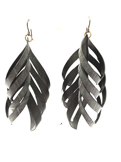 upcycled e. floyd earrings. Made from bike tire inner tubes. bresale.com