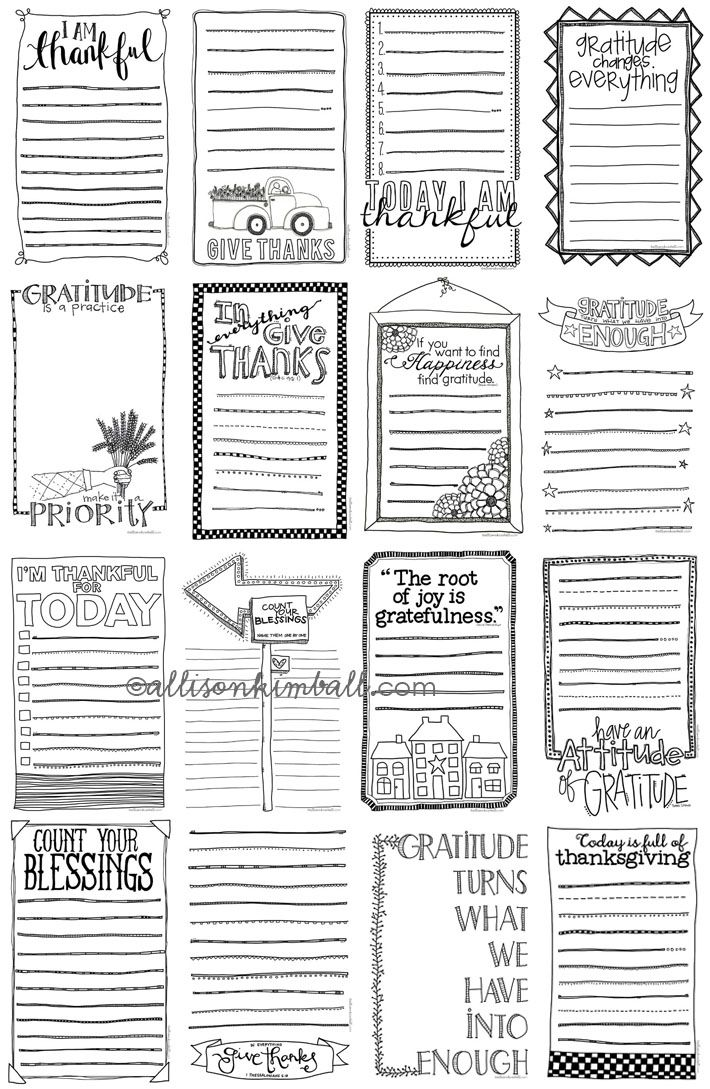 Free Gratitude List Journal Cards from Allison Kimball