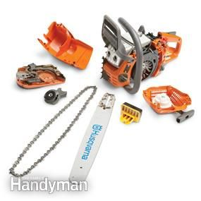 Easily removable chain saw parts - Chainsaw Reviews:  How to choose the best chainsaw for your projects and budget, plus reviews of popular chainsaw models. http://www.familyhandyman.com/tools/power-tools/chainsaw-reviews/view-all