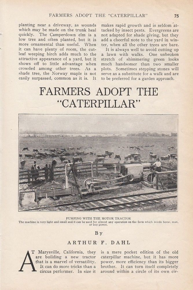 1914 Agriculture Article: Farmers Adopt the Caterpillar Motor Tractor