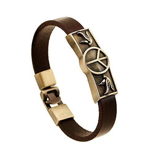 KONOV Bijoux Bracelet Homme - Tribal Tressé Manchette - Cuir Cordon - Alliage - Fantaisie - pour Homme et Femme - Chaîne de Main - Couleur Marron Noir Argent - Avec Sac Cadeau