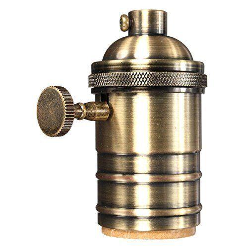 KINGSO E27 Copper Vintage Retro Antique Edison Pendant Lamp Light Keyed Holder Socket Screw DIY For Bulbs With Knob Antique Brass