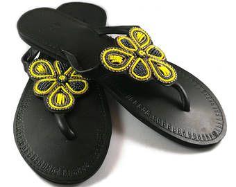Sandalias de cuero, sandalias africanas, sandalias Masai, zapatos de verano, sandalias con cuentas, sandalias Masai, kenianas sandalias, sandalias masai, kenianas sandalias