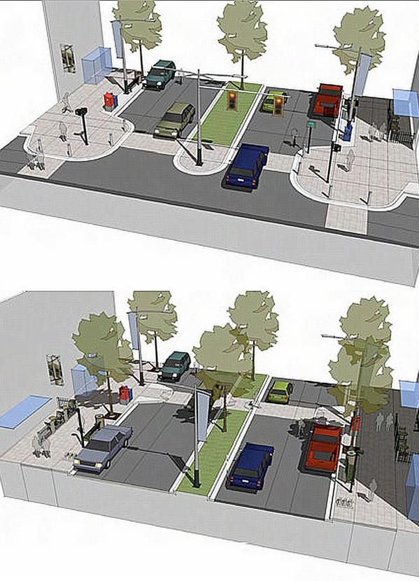 (1) Centre median, mid-block demarcated pedestrian crossing, curb bulb-outs, median trees & pedestrian refuge. (2) Small curb radius, raised intersection, demarcated pedestrian crossing, curb bulb-outs & prioritized signalization. Click for link to source and visit the slowottawa.ca boards >> https://www.pinterest.com/slowottawa/
