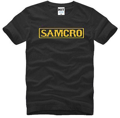 Men Skull Samcro T Shirt  Sons Of Anarchy T-shirts Short Sleeve Cotton Top Tees