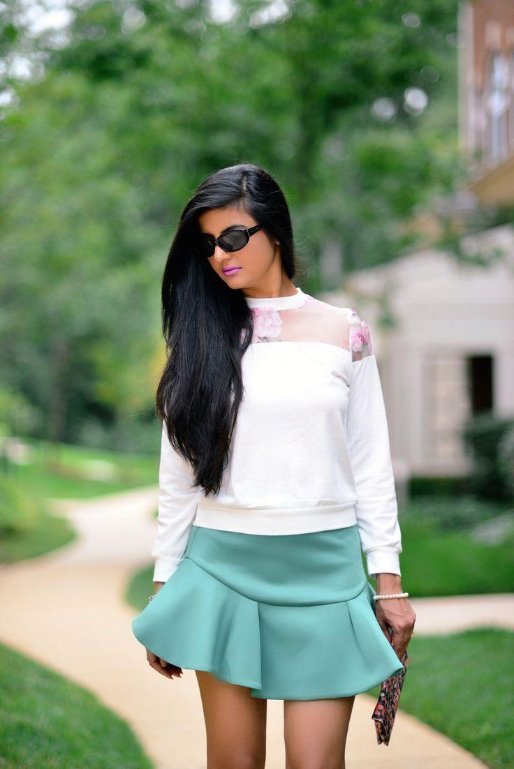 Floral Top with Flippy Scuba Skirt-004 http://zunera-serena.com/nyfw-ss15-trends/