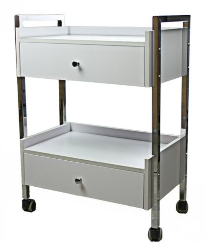 """<p> Salon Cart with Drawers. This beautiful """"top of the line"""" salon cart is sturdily constructed with laminated wood and steel. Attractively designed it has two drawers, an open storage shelf and a top work shelf. Of course the four non-stick castors mean that it is a breeze to move around.<br /> </p> <p> <span style=""""font-weight..."""