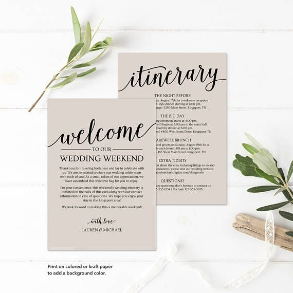 Printable Wedding Itinerary and Welcome Bag Note Templates by MyCrayons Design