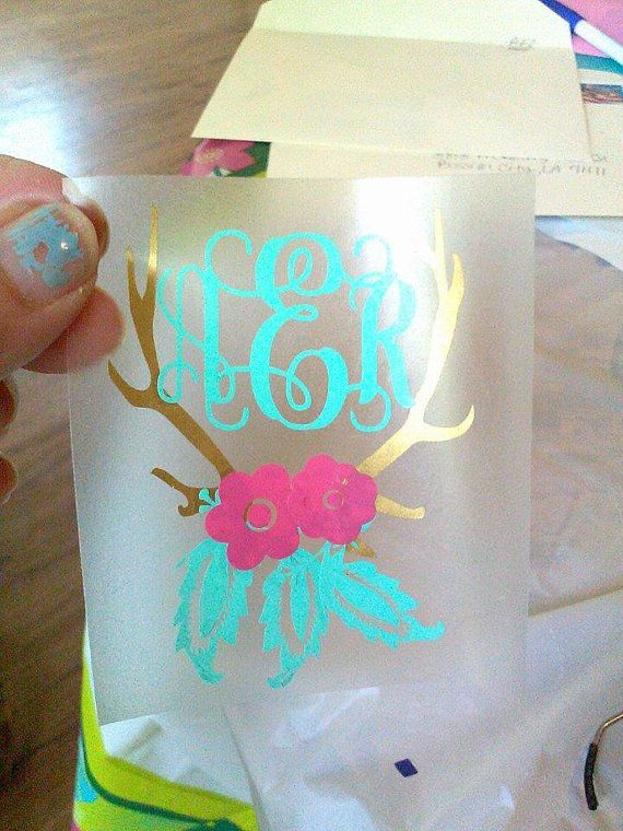 Floral Antlers Antler Decal Decal for Yeti by LettermixStudio