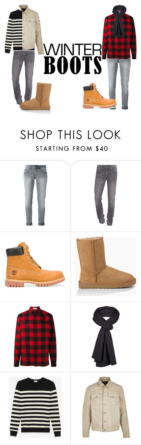 """Winter Boots~"" by sconesareawesome-iggybrows on Polyvore featuring Dondup, True Religion, Timberland, UGG Australia, Balenciaga, prAna, Yves Saint Laurent, River Island, men's fashion and menswear"