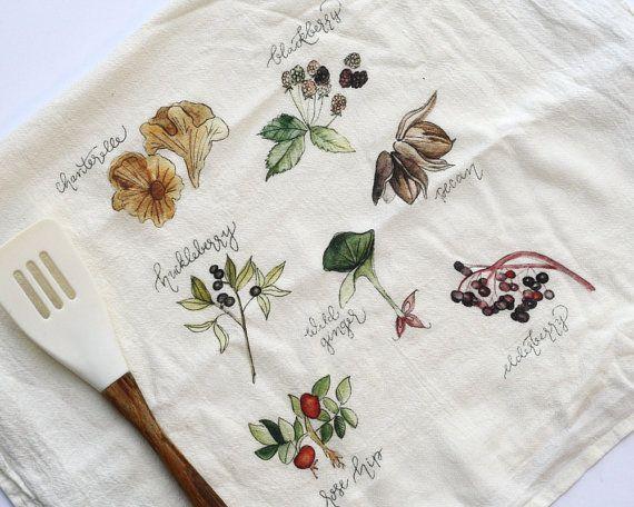 Foraged Foods Tea Towel Flour Sack Tea Towels By HoneyBrushDesign