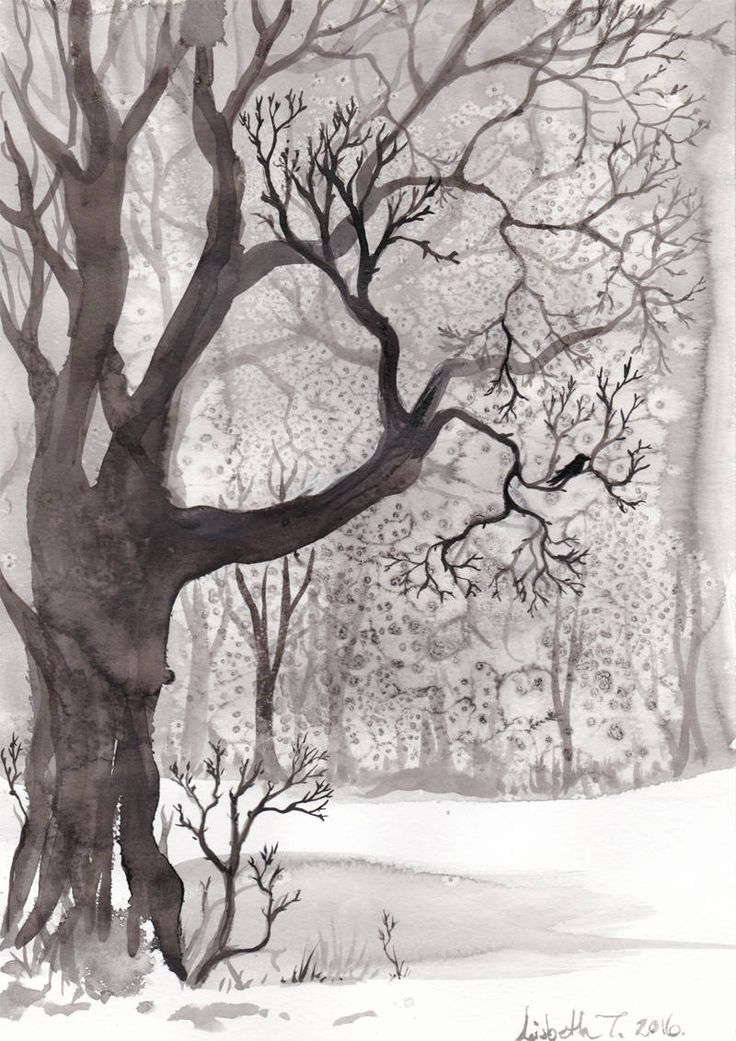"Original art: ""Winter Oak"". Painted ink on paper, black and white, trees, woodland, magical, mystical, winter, landscape, oak, bird, nordic. by ArtLisbethThygesen on Etsy"