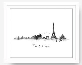 New York Skyline Black & White Splatter by blueelephantprints