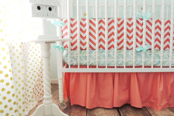 Tushies and Tantrums | Chevron Baby Bedding | Aqua, Coral Crib Bedding