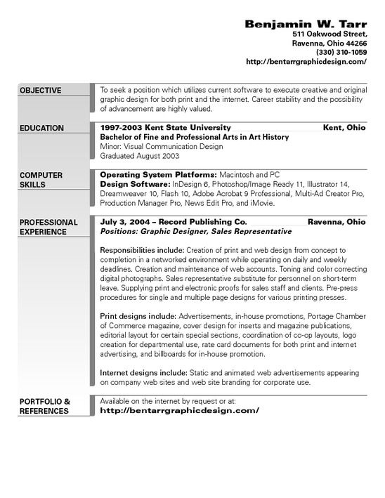 resume example objectives career