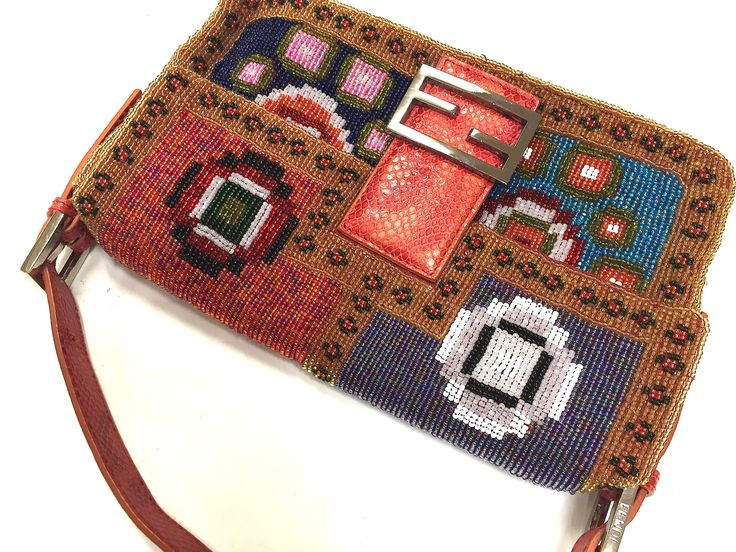 FENDI Multicolor Beaded Baguette w/Red Reptile Leather Accents Evening Bag Purse