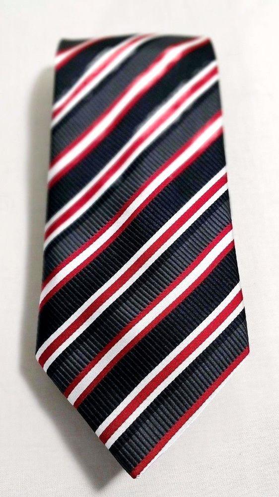 "Donald Trump Signature 100% Silk Tie NeckTie Black Striped Gray Red White 60"" 4"" #KennethCole #Tie"