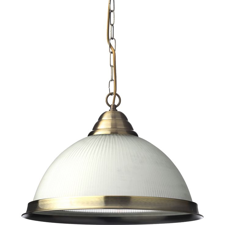 """Cascade"" Ribbed Glass & Antique Brass Pendant - TK Maxx"