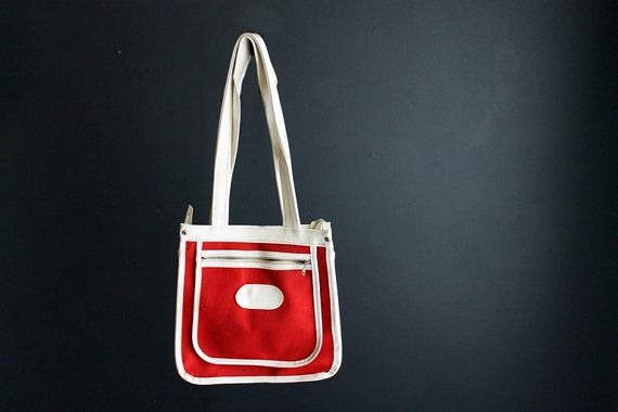 Vintage Mod Red Canvas Handbag Purse With White Vinyl by Circa810