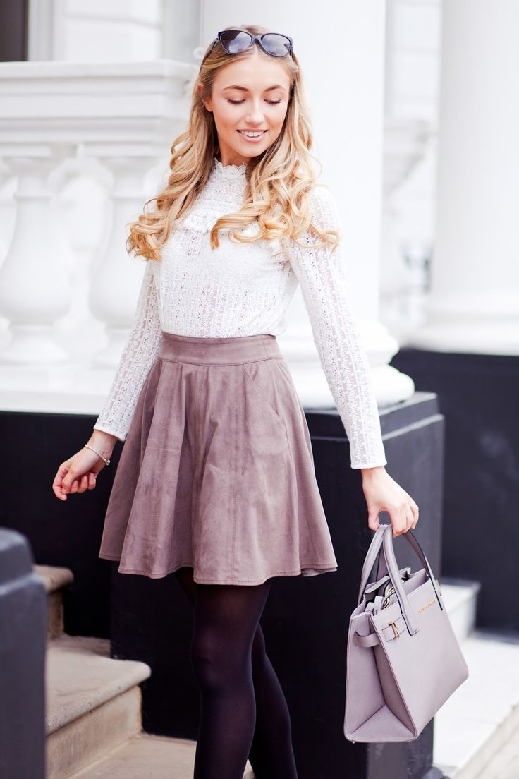 This outfit personifies my style. It has all my elements, lace,A-line skirt,light colors, and tights. Very feminine and age appropriate. Something I can easily recreate using my own closet.