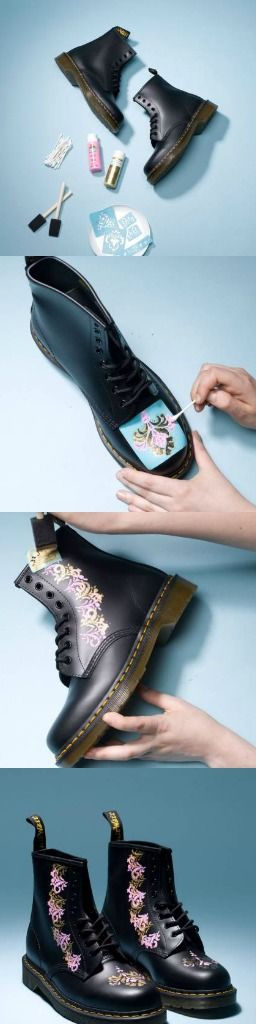 Pic 1 - DIY Baroque-Inspired Boots. What you need: Dr. Martens combat boots, Acrylic craft paint in pink and gold, Reusable adhesive stencils, Two 1-inch foam brushes, Q-tips, Plastic plate Pic 2- Use Q-tips to fill in alternating sections of the large stencil with pink and gold. Pic 3-Gently dab the inside of the stencil with your brush. Work in a soft, stamping — not brushing — motion until you fill the area of the stencil. Pic 4- Finished DIY Baroque-inspired Boots ***from teen vogue
