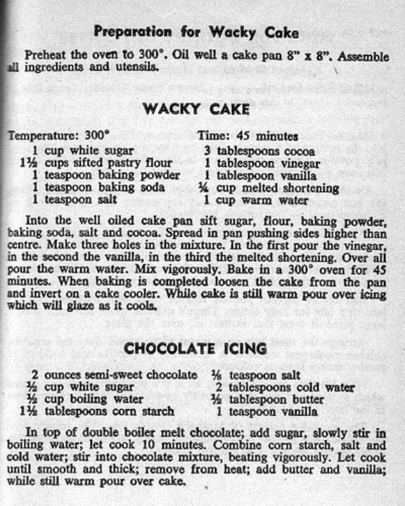Wacky Cake ...cake made during the Great Depression
