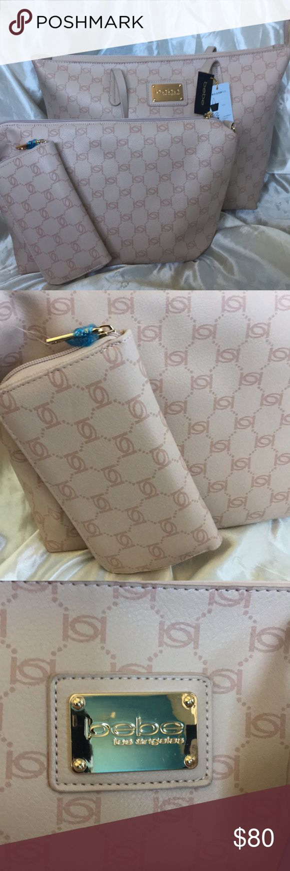 🎀NWT BEBE Loni Logo Blush 3 Piece Tote set BRAND NEW with tag BEBE Loni Logo Blush 3 Piece store Set with huge make up bag and zip up wallet. All Matching Set! Get her now❤️ bebe Bags Totes